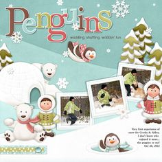 Winter fun layout with all the creatures winter has to offer....including us! FQB - Eskimo Eskapades Collection from Nitwit Collections