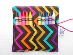 Mini Chevron Crayon Wallet  Jewel  8 or 10 by paperfromheaven