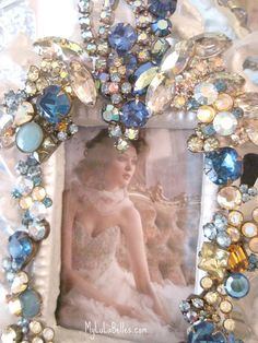 Blue & aurora borealis jeweled picture frame by mylulabelles, via Flickr
