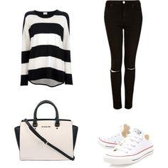 Camiseta rayas + Pantalón negro + Converse blancas + Bolso blanco.O.o