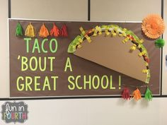 Bulletin Board Ideas for Back to School or Anytime of the year. Theme: Let's Taco 'Bout Bulletin Boards Cafeteria Bulletin Boards, October Bulletin Boards, Elementary Bulletin Boards, Interactive Bulletin Boards, Halloween Bulletin Boards, Teacher Bulletin Boards, Reading Bulletin Boards, Spring Bulletin Boards, Back To School Bulletin Boards