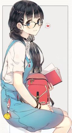 girl sitting on a chair blue onesie red backpack anime drawing ideas black hair colourful drawing Kawaii Anime Girl, Emo Anime Girl, Anime Boy Hair, Anime Girl Pink, Manga Kawaii, Chica Anime Manga, Pretty Anime Girl, Beautiful Anime Girl, Anime Black Hair