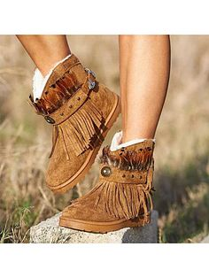 Round toe warm snow boots We offer fashion dresses, tops,jeans,swimsuits, shoes, bodysuits, skirts and more with cheap  affordable prices. # #FlatBoots