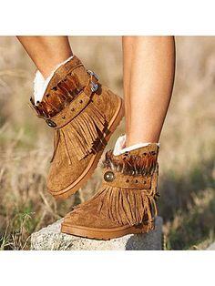 Plus Size Warm Tassel Boho Suede Flat Heel Ankle Boots - Khaki 43 Blue Wedge Heels, Blue Wedges, Shoes Heels Wedges, Flat Heel Ankle Boots, Brown Ankle Boots, Flat Boots, Buy Boots, Slip On Boots, Women's Boots