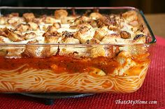 Chicken Parmesan Casserole » Recipes, Food and Cooking - Pasta with bite size pieces of chicken breasts, cherry tomatoes, zucchini, pasta and sauce topped with garlic croutons and cheeses. #chickenrecipes #chickenparmesan #pasta