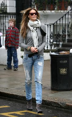 Basic long sleeve+distressed jeans+scarf+ankle boots= easy look for fall & winter