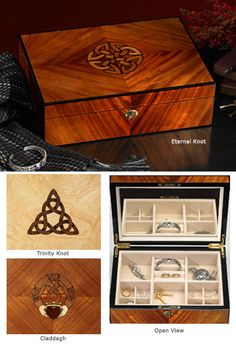 """Craftsman's Jewelry Box                     $148.00           Fine wood is the great gift of the tree, scarcely needing adornment. The intricate wood inlay on these handcrafted jewelry boxes is a master woodcrafter's salute to the glory of wood.  Heirloom-quality lockable jewelry box has a mirror on the interior lid; six velvet-lined compartments. Eternal Knot and Claddagh in mahogany; Trinity Knot in ash. 12"""" x 8 1/2"""" x 3 1/2""""."""