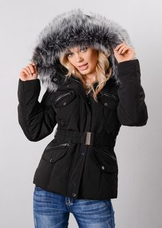 f7bec2353f9a Faux Fur Hooded Detachable Belt Zip Puffer Coat Black