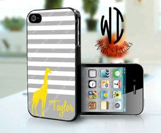 Personalized iPhone 4/4S Case - Giraffe with Stripes - iPhone 4/4S Case, iPhone 5 Case, Samsung Galaxy S3 Case, iPod Touch 4th Gen Case on Etsy, $17.99
