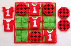 Tic-Tac-Toe Game  Soccer Red by gailscrafts on Etsy