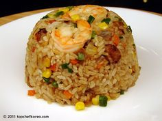 Shrimp Fried Rice Top Chef Korea - Authentic Korean Food Recipes in English Couscous, Authentic Korean Food, Seafood Recipes, Cooking Recipes, Seafood Dishes, Rice Recipes, Dinner Recipes, Veggie Fried Rice, Shrimp Fried Rice