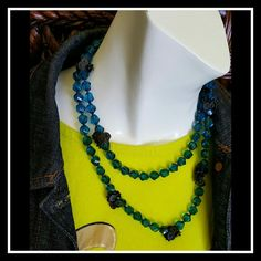 """Ocean Blue Bead Necklace ? Rock & Republic ? NEW WITH TAGS!   ROCK & REPUBLIC Brand Beautiful faceted bead Lucite Ocean Blue Necklace with gunmetal disc cluster accents   Measures 40"""" long  Can be doubled up as pictured, worn long and layered however you want! Rock & Republic Jewelry Necklaces"""