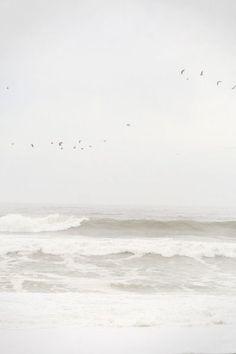 SERENITY - Pale gray sky, ocean waves, coast, salt water / creative spaces