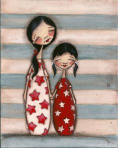 "Print of original folk art childrens painting, ""TWO""  by DUDADAZE"