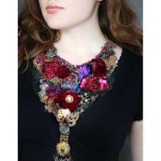 Barococo, bold textile art neckpiece | Krista R   http://boticca.com/kristar/barococo-bold-textile-art-neckpiece/17800/