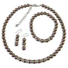 Bronze Brown Bridal Bridesmaid Rondells by fashionjewelryforeve, $19.99