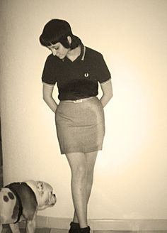 cute skin girl style, polo and pencil skirt