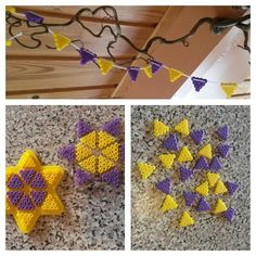 Yellow & purple hama perler garland by Fru. Hama Beads Design, Diy Perler Beads, Christmas Perler Beads, Peler Beads, Arts And Crafts, Diy Crafts, Melting Beads, Beading Patterns, Handicraft