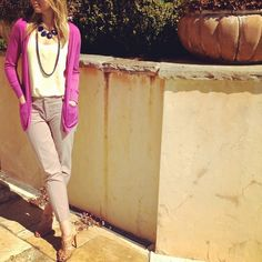 My mother's statement #necklace with spring #pastel and bright magenta #jcrew sweater