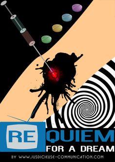 Affiche minimaliste/flat design de Requiem For A Dream de Darren Aronofsky, par Adeline, graphiste à Angers