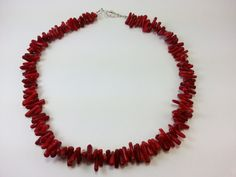 Red Frangia Bamboo Coral Choker  17 by NavajoHoganJewelry on Etsy, $30.00