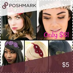 Paparazzi Accessories! Headbands, flower clips, bows, and hairbands!! Gorgeous designs and colors. Everything is $5!!!  Also enjoy necklaces, bracelets, and rings all $5 too... Check it out!! www.paparazziaccessories.com/60553 If you prefer to go through poshmark go to the site and pick your items out, let me know, and I'll make a bundle for you!! Happy shopping... Accessories
