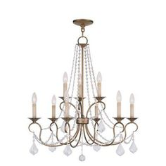 Livex Lighting 6519 Pennington 9 Light 2 Tier Chandelier with Crystal Accents