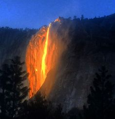 Firefall in Yosemite. It's not a fire. It's the sun reflecting on a waterfall. Archanjm posted this on Instagram