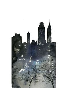 The City That Never Sleeps, #watercolor #nyc by Jessica Durrant