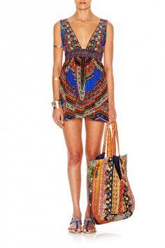 5310ce2f1b CAMILLA - ANCIENT PAJ NDAU V NECK SHORT DRESS W  TIE - Shop