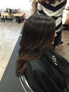 rich caramel balayage over dark chocolate brown hair