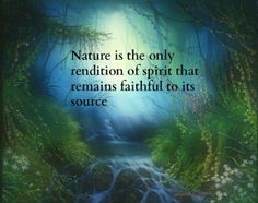 Nature is the only rendition of spirit that remains faithful to its source.