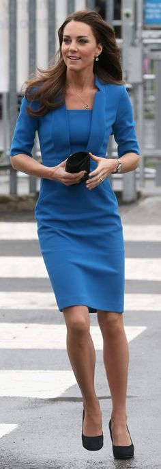 Kate Middleton is wearing blue, a colour of the season.