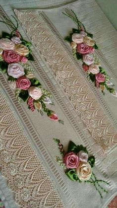 Details about Upick Ribbon Flowers Bows W/pearl Appliques Craft DIY Wedding Deco Ribbon Art, Diy Ribbon, Fabric Ribbon, Ribbon Crafts, Flower Crafts, Silk Ribbon Embroidery, Hand Embroidery Designs, Embroidery Stitches, Embroidery Patterns
