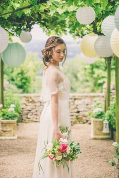 Ellie Lowe Dress Gown Bride Bridal Sleeves Cape Ethereal Coral Countryside Wedding Ideas http://www.robtarren.co.uk/