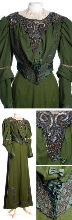 Forest green wool dress, 1890s. Charleston Museum