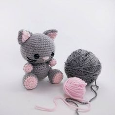 Meet Kaylie the kitty! Crochet pattern available at etsy.com/shop/theresascrochet shop Crocheted kitten - crochet cat- amigurumi cat