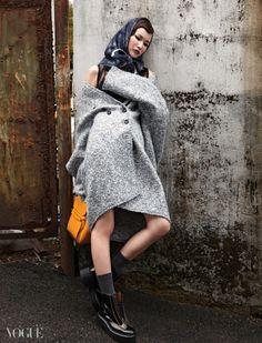 Love the scarf- Vogue Korea