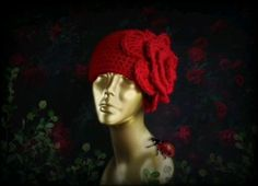Crochet Knitted RED flower hat #crochetflowerhat #crochet #flower #hat #red #redflower #hatwithflower #redrose #cloche #retrostyle #womenshat #girlshat #etsy #handmadehats #winterfashion Gifts For Nan, Crochet Winter, Flower Hats, Winter Hats For Women, Fall Accessories, Cloche Hat, Big Flowers, Crochet Flower, Boho Outfits