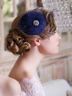 Navy Blue Fascinator - just gorgeous! Navy Blue Fascinator, Fascinator Hats, Fascinators, Winter Wedding Guests, Cocktail Hat, Blue Bridal, Wedding Hats, Winter Fashion Outfits, Fashion Fashion