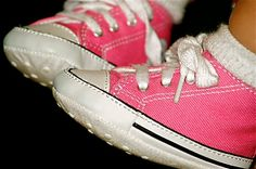 Even though they can't walk yet, we buy cute shoes for their tiny feet. We got some just like these for our little girl. When we had a garage sale I could not bear to part with the sweet little things.