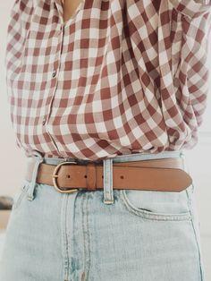 spring / summer outfit | light jeans | denim | belted | flannel