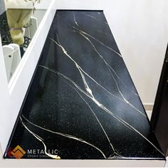 Metallic Epoxy Countertop Coating Design: Chrome Gold Marble Veins paired with Liquid Diamonds on Pure Black base Gold Marble, Black Marble, Epoxy Countertop, Epoxy Coating, Stair Storage, Tiny Houses, Kitchen Ideas, Resin, Room Ideas