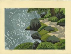 Masao Ido, Garden Shadows, woodcut, 1992