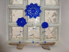 Driftwood Table Decor, Holiday Gift Idea, Blue~Electric Flowers, Decor for Shelves, Flat Driftwood pieces, Blue Crochet Flower, Timeless Driftwood Table, Driftwood Art, Crochet Flowers, Holiday Gifts, Gifts For Women, Table Decorations, Flat, Home Decor, Xmas Gifts