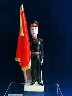 Soviet Russian Porcelain Figurine Soldier With A Flag
