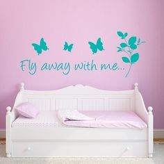 Butterfly Fly Away With Me Wall Decal Quote   Wall Decal World   Kids Room  Wall