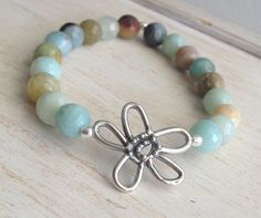 Whimsical and Fun… Amazonite Beaded Stretch Bracelet Sterling Silver by LoveandLulu, $36.00
