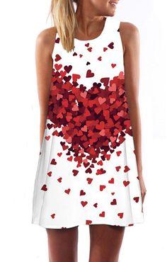 New Retro print sleeveless shift dress with heart design Gender:Women Waistline:Natural Sleeve Style:Regular Pattern Type:Print Style:Casual Material:Cotton,Polyester,Microfiber Season:Summe…