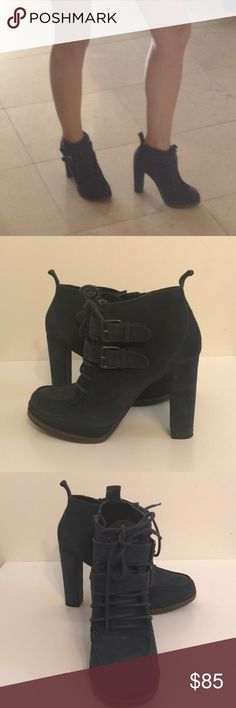 DV Dolce Vita Navy Suede Thick Heel Ankle Boots DV Dolce Vita Navy Suede Thick Heel Ankle Boots Size 6.5 These booties are to die for.  Gorgeous, sexy, structured beauties.  Mimics English/British style.  Zipper on the side.  Excellent condition. Worn once. Dolce Vita Shoes Ankle Boots & Booties